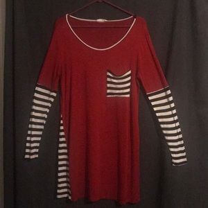 Red tunic with black and white stripped sleeves